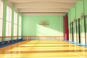 Проведение дезинфекции в школьном спортзале